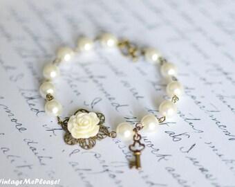 Flower Girl Bracelet, Childrens Gift, Bridesmaids Gift, Flower Bracelet, Infant Jewelry, Baby Girl Gift,  Flower Girl, Wedding Accessories