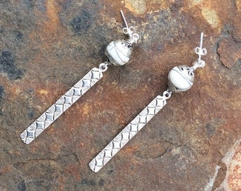 White Bone and Brushed Silver Earrings