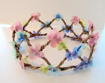 Princess crown -Birthday hat- Flower Crown- Queen Crown -Mid Summer's Night- Hydrangea Flower crown- Woodland Crown- Music Festival Wear