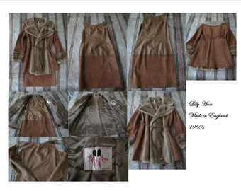 Vintage Lilli Ann Dress & Coat Faux Fur Made In England Early 1960's 1 ONLY AVAILABLE