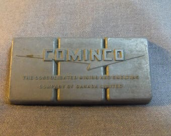 "Cominco, Trail BC Zinc Slab, 1950s to 1960s era Tadanac Zinc Metal, Collectible 2.5 x 1.25"""