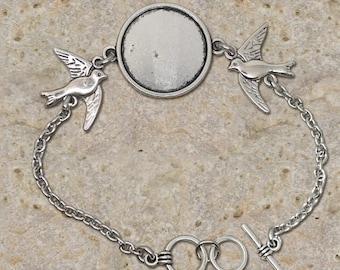 Bracelet holder round cabochon 20 mm, birds