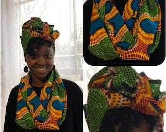 African Print Infinity Scarf & Head Wrap Set Kaleidoscope