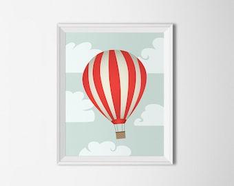 Hot Air Balloon Printable art, Red balloon, Neutral Nursery Decor, Nursery Wall art, Balloon wall art, Travel print, Adventure nursery