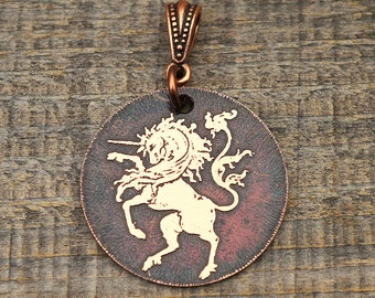 Unicorn pendant, round flat etched metal jewelry, mythical creature, magical horse 28mm