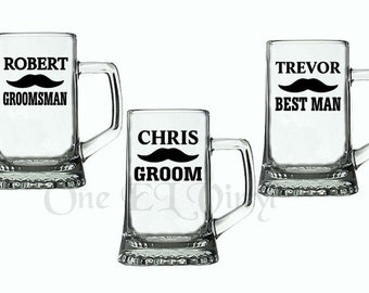 DIY Decal - Mustache Wedding Party Groom, Best Man, Groomsman, Vinyl Decal for Beer Mugs, Wine Glass Wedding Decor Glass NOT Included