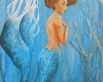 Ready to hang mermaid art, beautiful mermaid on stretched canvas, mermaid gift, 8x10, Nancy Quiaoit