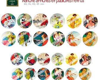 Collage sheet digital retro advertisements and posters vintage creation round cabochons (18 30, 25, 20 mm)