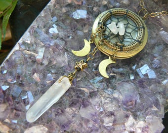 moonstone locket,dreamcatcher locket,moon Goddess necklace,moon,triple moon,wiccan,witch,Pagan,cosplay, photo locket,boho,goth,festival