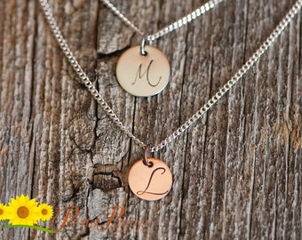Initial Disc Necklace - Two Chains and Discs per Order - Best Friend - Mother Necklace - Delicate Initial Necklace - Anniversary Gift
