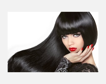 Long Hair. Beautiful Brunette Girl. Healthy Black Hairstyle Poster or Canvas