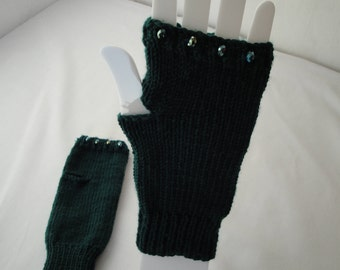 dark green handwarmers, merino wool mittens, bead trim mitts, green texting gloves, fingerless mitts, holiday gift for her, wool wristwarmer