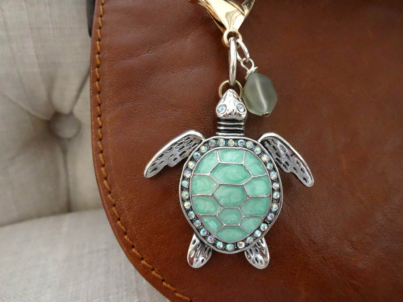 Sea turtle purse charm turtle zipper pull sea glass handbag zoom mozeypictures Images