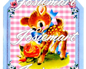 Vintage Digital Download Deer in Gingham Frame Kawaii Vintage Image Collage Large JPG