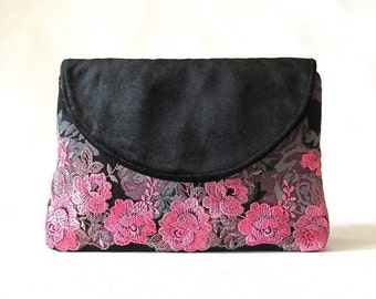 Black Wedding Clutch, Velvet bridal clutch, lace bridesmaid clutch, blush floral lace clutch purse, wedding gift, something blue