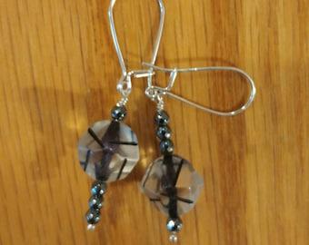 vintage lucite hematite earrings