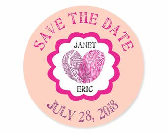 Fingerprint Save the Date Labels Stickers / Thumbprint Heart