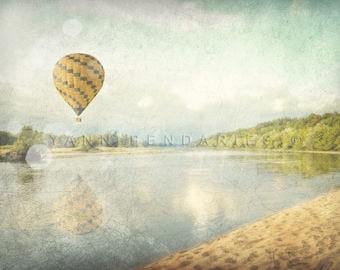 Nature photography, art photography, Hot air balloon, Landscape Photography, wall decor, green, summer trend, pastel color