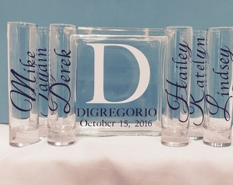 Family Blended Unity Sand Ceremony Glass Containers - Glass Block with Large Initial and last name - personalized Side vessels