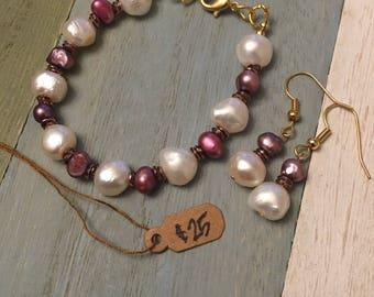 Freshwater Pearl Bracelet&Earring Set