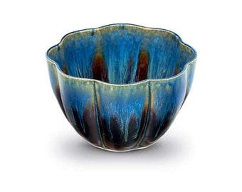 Blue Ceramic Flower Bowl / Kitchen Gift / Handmade Pottery Serving Bowl / Modern Ceramic Cereal Bowl / Home Decor / Blue Housewarming Gift