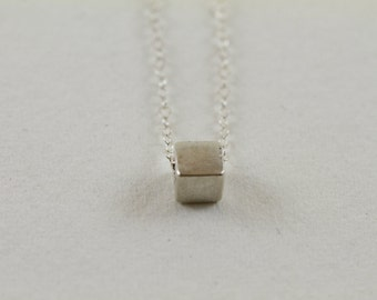 Single Silver Cube Necklace, Geometric, Square Necklace, Everyday Layering Necklace, Minimalistic Jewelry