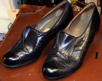 1930's Black Leather Shoes size UK 4