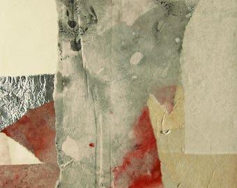 "Original abstrakte Papier-Collage, ""Granit"", 37x19 cm"