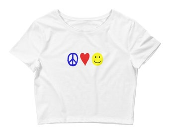 RC Peace, Love, and Happiness Women's Crop Tee
