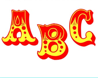 Circus Letters Clipart - Carnival Letters Clipart - Circus Fonts, Carnival Fonts - Circus and Carnival Alphabet