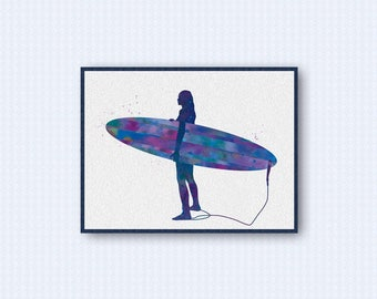 Surfer Girl Watercolor Poster