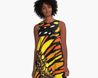 MONARCH A-Line Dress XS S M L XL 2XL Insect Butterfly Nature Art Orange Yellow Black Swing Trapeze Dress  Woman Teen Wearable Art Clothing