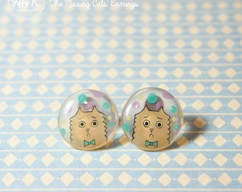 Hand drawn shrink plastic jewelry - LAMBIE The Missing Cats Stud Earrings {Ready to Dispatch}
