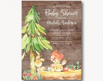 Playful Fox & Bunny Baby Shower Invitation, Cute, Wood, Rustic, Baby Shower, Gender Neutral, Boy, Girl, Forest, Unique, Digital, Printable