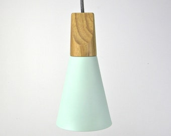 The scandi storm green wooden pendant bedside table lamp cloth cord light wood timber hanging light scandinavian