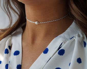 Dainty Silver Pearl Choker Necklace, Layering Choker Necklace, Bohemian Jewelry, Silver Chain Pearl Choker Necklace, Delicate Chain Choker