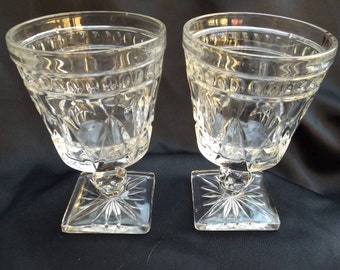 Colony Park lane Clear Glass Square Footed Water glasses, Vintage Indiana Glass