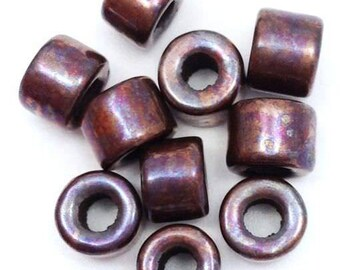 10 ceramic cylinder, copper, 6mm, 10 pieces, ceramic beads, copper, Brown, tubes, ceramic beads, greek beads, mykonos, Greek