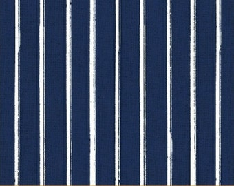 One Yard Hidden Cove - Stripe in Navy Blue - Cotton Quilt Fabric - by Sue Schlabach for Windham Fabrics - 40434-2 (W3034)