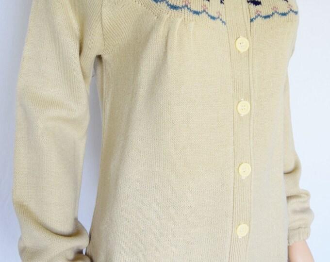 Vintage 1970's Women's Darnknit FLoWeR FAiR IsLe NorDiC HiPPiE BoHo Cardigan Sweater M