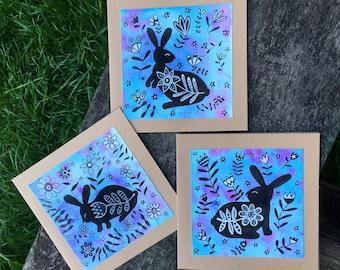 Folk Art Rabbit Cards - Set of 3 Cards - Original Artwork