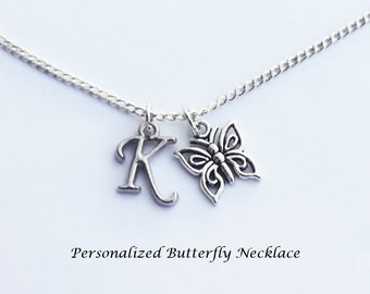 Personalized Necklace. Butterfly Necklace. Butterfly. Initial Necklace. Butterfly Jewelry. Initial Jewelry. Girlfriend Gift.