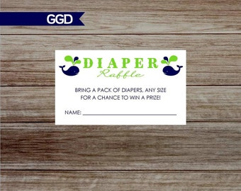 Whales Diaper Raffle Tickets, printable diaper raffle, navy and lime diaper raffle, diaper raffle, twin diaper raffle-Print Your Own-007