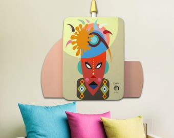 African Mask For Wall, African Mask Wood, African American Art,  African Mask Wall Hanging, African Mask Display, African Mask Charm