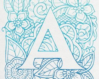 Mendhika Alphabet - Choose Letter embroidered floursack dish/tea towel
