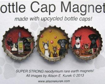 Cat Magnets - Dog Magnets - Wine Magnets - Packaged Gift Set - Gift for Cat Lover - Dog Gift - Wine Gift - Black Labrador - cat art