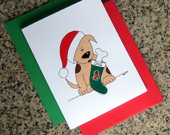 brown spotted puppy dog with a stocking holiday christmas cards (blank/custom printed inside) with red or green envelopes - set of 10