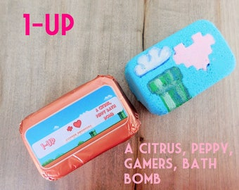 1-UP: A Citrus, Peppy, Gamer's, Bath Bomb
