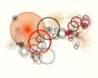 Large Abstract Art, Orange Art Print, Orange Abstract Art, Retro Art Print, Large Wall Art, Fine Art Print, Spirograph Art