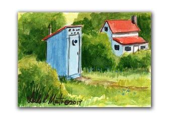 Fun Blue Out House Farm Baby Nursery llmartin Original ACEO Father  Grandma Miniature Watercolor Chickens Free Shipping USA Child Children